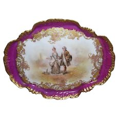 Dainty, Elegant and Feminine Limoges Portrait Pin/Dresser Tray; Signed Chazelar
