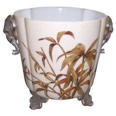Very Old, Very Rare and Unusual Limoges Quatrefoil Shaped, Footed Planter with Elephant Handles; As Found