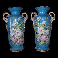 Gorgeous Pair of Large Old Paris Porcelain Vases; Sevres Celeste Bleu Background; White Roses and Pink Primroses on Stem and Leaf; AS FOUND