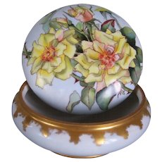 Stunning Hand Painted Large Limoges Dresser Box or Powder Box; Gorgeous Yellow Roses