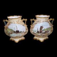 Pair of Elaborately Decorated, Nautical Themed, Continental Porcelain Vases, Artist Signed Valantin