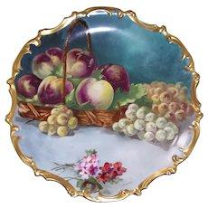 Gorgeous Large Limoges PorcelainFruit Still Life Plaque; Master Artist Signed Dubois