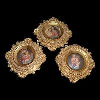 Set of 3 Ornate, Vintage Rococo Brass Frames with Renaissance Religious Prints