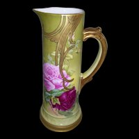 """Rare & Unusual T&V Limoges Tankard; Factory Decorated With Roses and Gold in the Art Nouveau Style; Artist Signed """"Roby"""""""