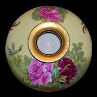 Rare and Unusual, Tressemann & Vogt Limoges Art Nouveau Squat Vase; Hand Painted Roses and Gold; artist signed Roby