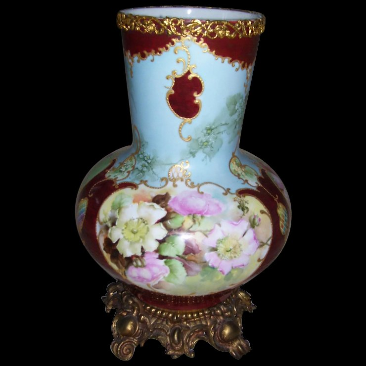 Huge Limoges Bulbous Vase On Stand Gorgeous Wild Roses Drilled For