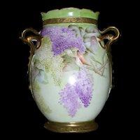 Large Elite Limoges Vase; Hand Painted Lilacs; Ornate Handles
