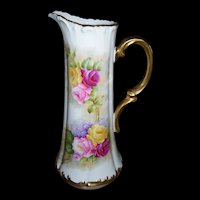 Outstanding Large Limoges Tankard Decorated in the Desirable Roses and Lilacs Pattern; Signed by the Factory Artist, Rouseau