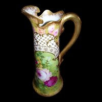 One-of-a-Kind, Limoges Roses and Raised Gold Paste Ornate Tankard Signed Pierre