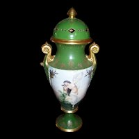 Magnificent Huge Victorian Style Limoges Semi-Nude Portrait Urn with Reticulated Cover