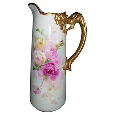 """Gorgeous Willets Belleek Pitcher; Hand Painted Roses; Artist Signed """"Marsh""""; Dragon Handle"""
