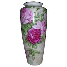 SALE...Large 17 ½ Inch Limoges Floor Vase Covered in Huge Hand Painted Pink Roses and Buds on Stem and Leaf