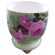 Large William Guerin Limoges Planter on Plinth; Large Pink Roses on Seafoam Green Ground