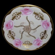 "Stunning Elite Limoges Tray/Shallow Bowl; Large Pink Roses; Artist Signed ""Jean"""