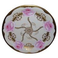 "Stunning Elite Limoges Tray/Shallow Bowl; Large Pink Roses; Artist Signed ""Jean"""