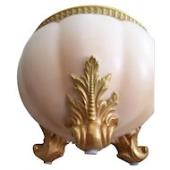 Gorgeous 1902 Royal Worcester Blush Ivory 3 Footed Acanthus Leaf Bowl
