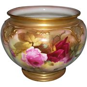 """Stunning, Rare, Large Royal Worcester Jardiniere; Hand Painted Roses; Signed """"J. LLEWELLYN""""; Date Stamped for 1917"""