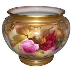 "Stunning, Rare, Large Royal Worcester Jardiniere; Hand Painted Roses; Signed ""J. LLEWELLYN""; Date Stamped for 1917"