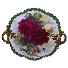 Stunning, One-of-a-Kind, Rosenthal Monbijou Handled Cake Plate; Boldly Hand Painted Ruby Roses on Stem and Leaf; Signed by M BLANCHE LENZI of Norristown PA; Respected, Talented, Favorite of All Victorian Roses Artists