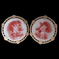 Fantastic Pair of Elite Limoges Ornate Reticulated Cabinet Plates; Bouguereau Cherubs; Signed S.F. Caesar 1901
