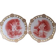 Fantastic Pair of Elite Limoges Ornate Reticulated Cabinet Plates; Bouguereau Cherubs; Signed S.F. Caesar 1901