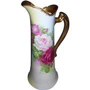 "Fabulous, Rare Coronet Limoges Tankard; Beautiful Hand Painted Roses; Artist Signed ""Rancon"""