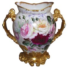 """Gorgeous, Huge, Jean Pouyat Limoges Vase with Gilded Handles and Base; Decorated with Hand Painted Roses on One Side and an Aristocrats Ball on the Reverse; Artist Initialed in Gold, """"M.R.W."""""""
