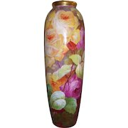 Large Factory Decorated Vase Covered in Hand Painted Roses on Stem and Leaf; Signed by the Renowned Limoges Artist, A. Bronssillon