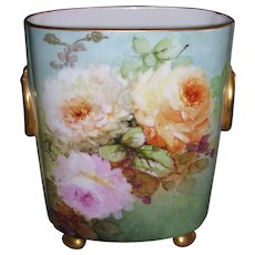 Gorgeous Limoges Cache Pot Decorated With Hand Painted, Ethereal, Water Color Roses