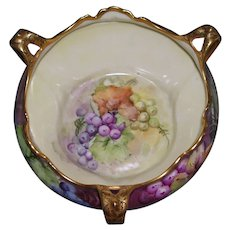 Elegant Elite Limoges Three Handled, Footed Bowl Decorated With Beautiful Hand Painted Grapes