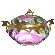 "Rare and Unusual Comte D'Artois Limoges Biscuit Jar with Fancy Gilded Handles; Decorated with Pink Roses; Artist Signed ""Laure"""