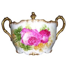 "Pristine White Porcelain Limoges Biscuit Jar With an Abundance of Sponged Gold; Decorated with Hand Painted Deep Pink Roses; Artist Signed ""Colon"""