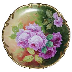 "Large Limoges Charger/Plaque; Exquisite Pink Roses on Stem and Leaf; Fancy Gold Border; Artist Signed ""Aubin"""
