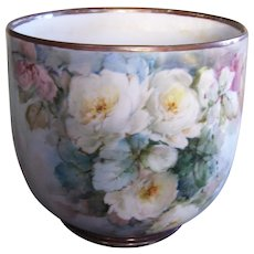 White Roses on Stem and Leaf; Ethereal, Water Color Like Shades of Blue Ground; Large Limoges Planter; Howell 1916