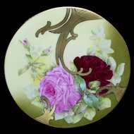 Stunning Limoges Art Nouveau 7 ¼ Inch Diameter Plates; Roses and Gold; Artist Signed Roby