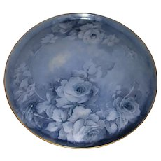 """Beautiful, Unusual, Large T&V Limoges 16 Inch Tray Decorated With Hand Painted, Monochromatic Blue Roses; Artist Signed """"Hayden"""""""