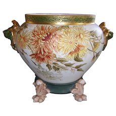 Rare and Unusual Limoges Lion Handled Jardiniere and Plinth; Multi Colored Chrysanthemums Outlined in Gold