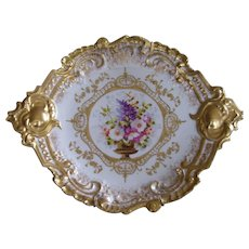 Exquisite Large Limoges Rococo Charger/Plaque with Gilded Handles, Raised Gold Paste and a Central Cartouche of a Gorgeous Urn Filled with a Lovely Bouquet of Assorted, Colorful Blossoms