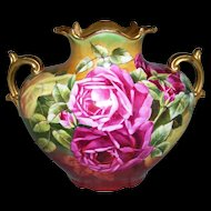 "Hand Painted Limoges Pillow Vase; Bold Victorian Colors; Roses; Artist Signed ""Jost""; D'ARCYS Art Studio"