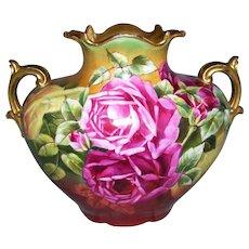 "Hand Painted Limoges Pillow Vase; Bold Victorian Colors; Roses; Artist Signed ""Jost""; D'ARCYS Art Studio"