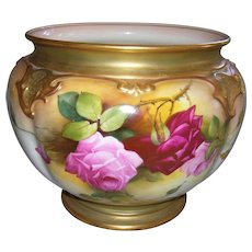 "Gorgeous, Large Royal Worcester Jardiniere Decorated with Ruby and Pink Roses on Stem and Leaf; Artist Signed ""W. H. Austin""; Royal Worcester Puce Date Mark for 1919"
