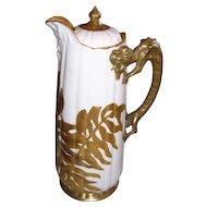 Elegant, Dainty Belleek Chocolate Pot; Decorated with a Lavish, Raised Paste, Gilded Fern Decor; Gilded Dragon Handle