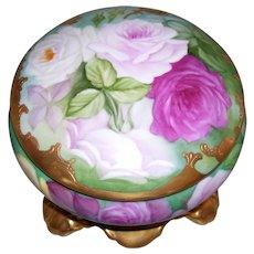 Dainty and Feminine Limoges France Powder/Dresser/Trinket Box; Multi Colored Roses; Raised Paste Gold Border; Gold Plinth