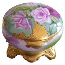 Dainty and Feminine Limoges France Powder/Dresser/Trinket Box; Multi Colored Roses; Raised Paste Gold Border; Gold Plinth (2)