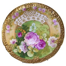 """Stunning; One-of-a-Kind; Rare and Unusual Limoges Charger; Roses; Raised Gold Paste; Wide Gold Border; Artist Signed """"Pierre"""""""