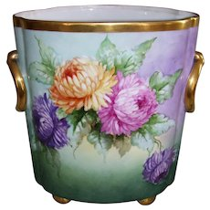 """Huge, Rare 12 1/2 Inch Tall Heinrich & Co Selb Bavaria Cache Pot; Hand Painted Chrysanthemums; Artist Signed """"Kimmel"""""""
