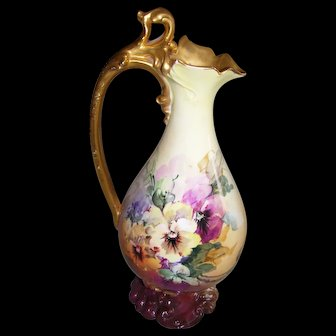 Ornate, Superb, Large Limoges Ewer; Rich Roman Gold Handle and Mouth; Bold Victorian Style Colors and Beautifully Hand Painted Pansies