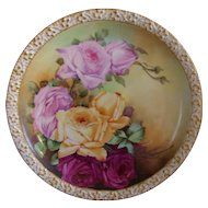 "Gorgeous Limoges Charger; Multi Colored Roses; Artist Signed ""P. J. Connin"" ; Tressemann & Vogt"