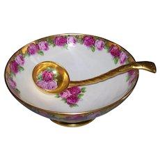 Dainty & Feminine Tressemann & Vogt Limoges Small Punchbowl & Ladle; Pink Roses