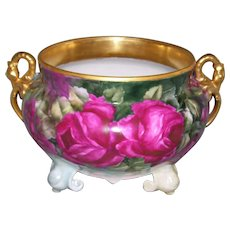 Boldly & Beautifully Painted Limoges Fernier/Planter/Jardiniere with Large Red Roses on Stem and Leaf; Gold Swan Handles
